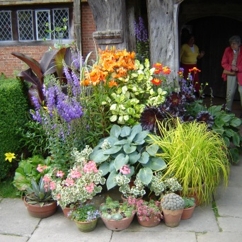 Display of pots at Great Dixter